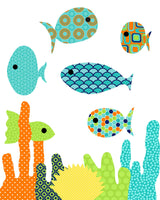 Fish nursery art print of fish and coral in bright colors.