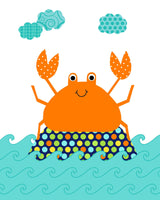 Colorful, cute crab nursery art print in orange turquoise and navy