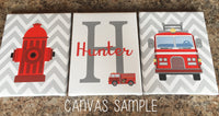 Set of four fire fighter canvas prints