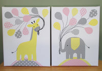 Baby girl elephant and giraffe nursery canvas prints