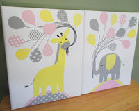 Pink and yellow zoo animal nursery canvas prints