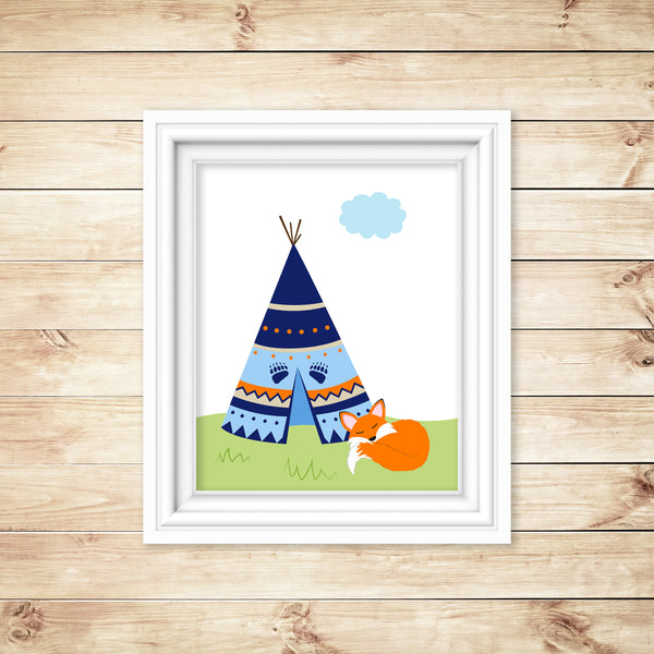 Woodland nursery art print with a fox and tepee in navy, blue and orange