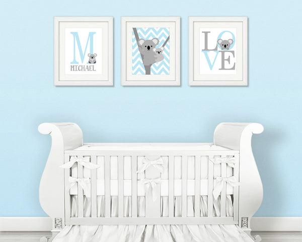 Baby Boy Koala Nursery Decor, Set of 3 Koala Prints, Baby Blue and Grey, Koala Boy Decor, Koala Wall Art, Koala Art Prints, Koala Pictures
