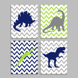 Set of four dinosaur silhouette prints in green navy and gray with chevron backgrounds