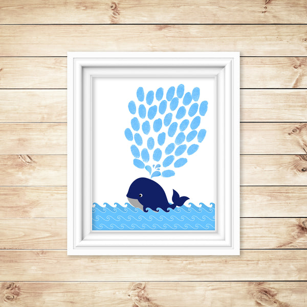 Whale Baby Shower, Whale Thumbprint Guest Book, Alternative Guestbook, Baby Shower Keepsake, Gender Reveal Party Teacher Gift Birthday Party