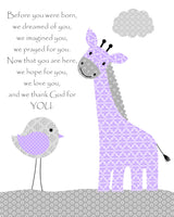 before you were born nursery art print in gray and purple with giraffe and bird.