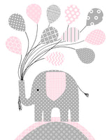 grey and pink elephant nursery art
