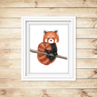 watercolor red panda art print