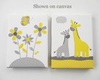 Grey and Yellow Nursery Wall Art, Nursery Art Print, Giraffe Nursery Art, Bird Nursery Art, Flower Print, Tree Art Print, Butterfly Nursery