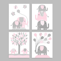 set of four baby pink and grey elephant nursery art prints