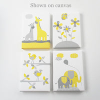 Baby Girl Nursery, Girl Nursery Decor, Elephant Nursery, Grey and Yellow, Flower Nursery, Baby Room Decor, Girl Wall Decor, Giraffe Nursery