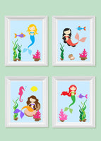 Set of four mermaid kids are prints