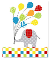 art print of elephant holding a bunch of balloons in primary colors.