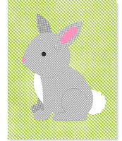 Bunny Rabbit Nursery Art Woodland Forest Gray Green Gender Neutral Decor Toddler Animal Children Canvas or Paper Print