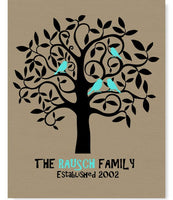 Personalized Family Tree Print with birds representing a family