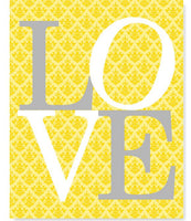 Love art print in grey and yellow with damask