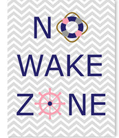 No Wake Zone nursery art print in grey, navy and pink.