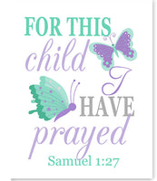 Nursery art print with butterflies and Samuel 1:27 Bible verse in mint and purple
