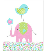 Nursery art print with elephant and bird in aqua, pink and green.