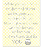 Before You Were Born Poem with owl on pale yellow plaid background