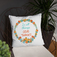 Fall pillow with scripture and a fall wreath
