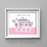 pink and gray Noah's Ark nursery prints