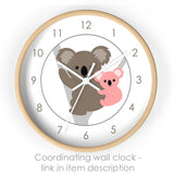 koala nursery wall clock
