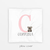monogram koala pillow cover