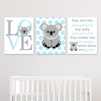 set of three koala bear prints