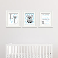 baby blue koala bear nursery prints