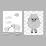 Set of three gray and white lamb nursery prints