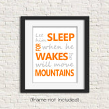 orange and gray let him sleep nursery print