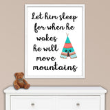 Let him sleep nursery print with teepee for tribal nursery