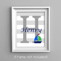 sailboat monogram nursery print