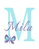 monogram print with butterfly