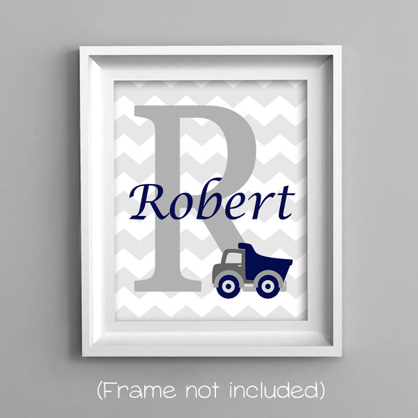 construction truck monogram print