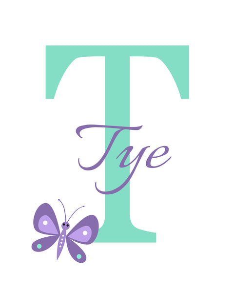 Reserved for Tia - butterfly monogram print