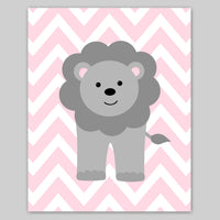 pink and grey lion nursery decor