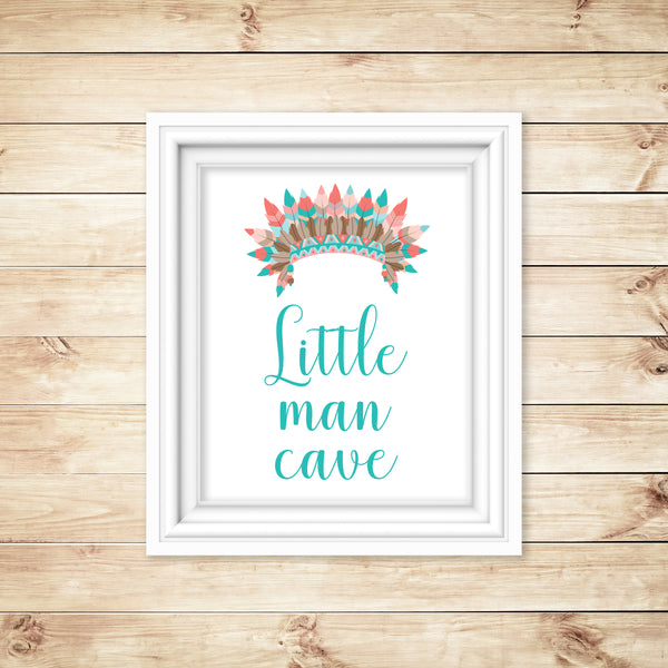 "tribal nursery art with the words ""Little man cave"" and an indian headdress"