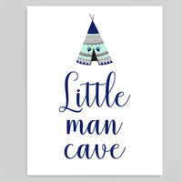 little man cave art print for baby boy boho tribal nursery in mint, navy and grey, printable file.