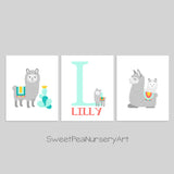 Set of three llama nursery art prints