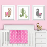 Set of three llama nursery prints
