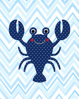 Red and navy lobster on chevron nursery print