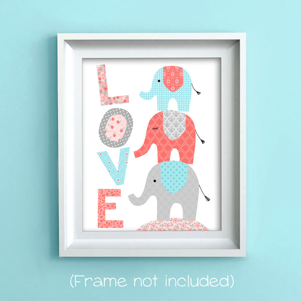 elephant nursery art print in aqua, coral and gray