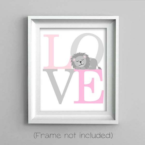love nursery print with lion in gray and pink