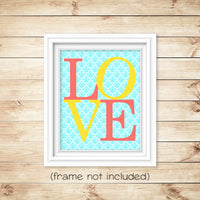 love nursery print on aqua damask with coral and yellow letters
