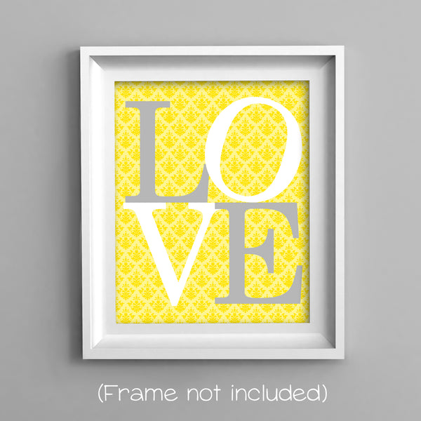 love print on yellow damask