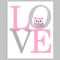 Printable baby girl nursery picture of the letter L-O-V-E with an owl in grey and pink, printable file.