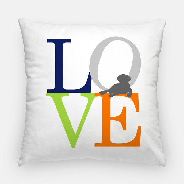 puppy love pillow in gray, navy, green and orange