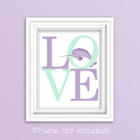love print with narwhal